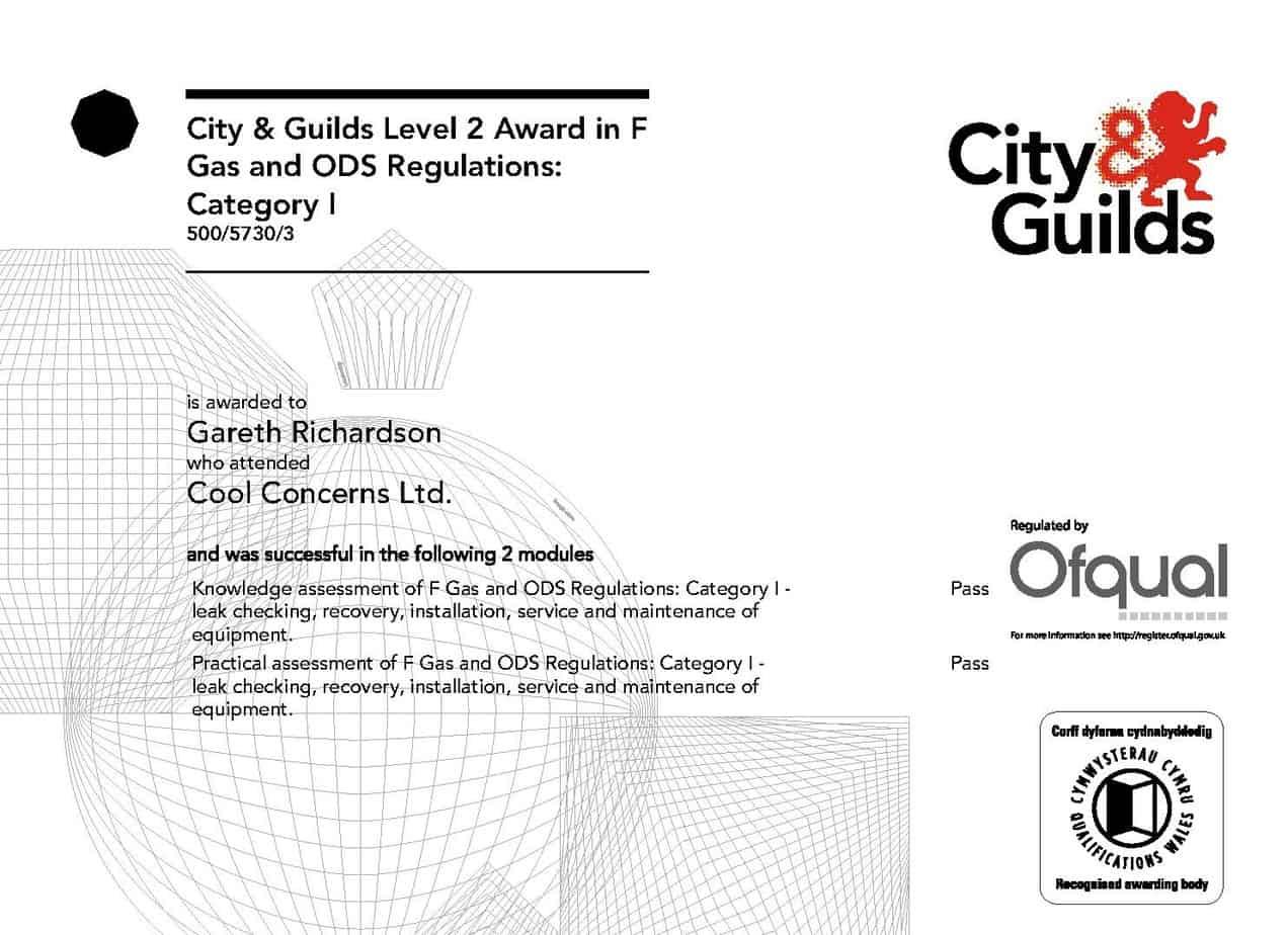 F Gas Certificate